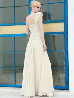 Noble Sheath/Column Chiffon One shoulder Draped Evening Dresses