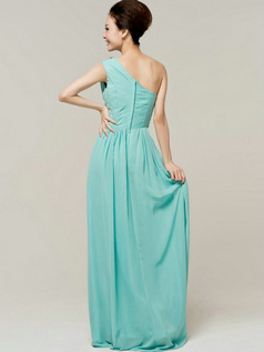 Noble Sheath/Column Chiffon One shoulder Draped Prom/Evening Dresses