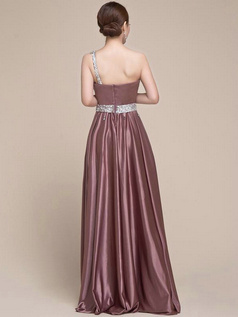 Noble Sheath/Column Elastic Silk-like Satin One shoulder Crystal/Rhinestone Beading Evening Dress