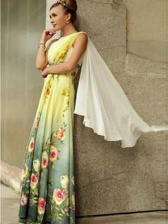 Noble Sheath/Column One shoulder Floor-length Pattern Prom/Evening Dresses