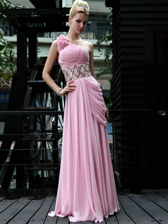 Noble Sheath/Column One shoulder Floor-length Side-draped Prom/Evening Dresses
