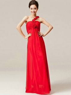 Noble Sheath/Column One shoulder Flower Bridesmaid Dresses