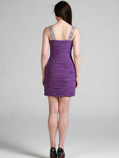 Noble Sheath/Column Straps Short/Mini Tiered Cocktail Dresses