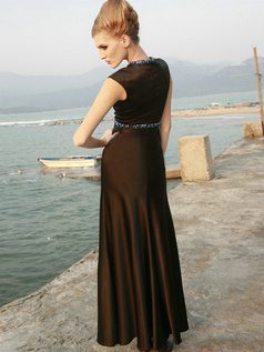 Noble Sheath/Column Stretch Satin Round Brought Beading Evening/Prom Dresses