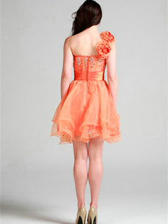 Perfect A-line One shoulder Short/Mini Flower Cocktail/Homecoming Dresses