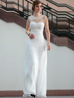 Perfect A-line Round Brought Floor-length Sequin Chiffon Evening Dresses