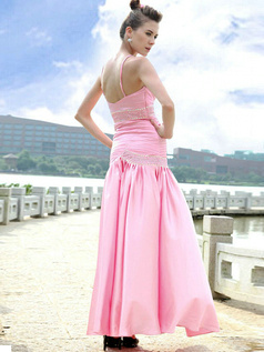 Perfect Mermaid/Trumpet Stretch Satin Spaghetti Straps Tiered Evening/Prom Dresses