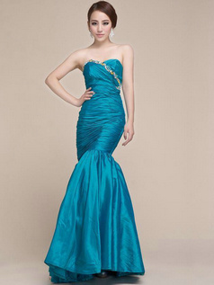 Perfect Mermaid/Trumpet Taffeta Sweetheart Crystal/Rhinestone Beading Prom Dress