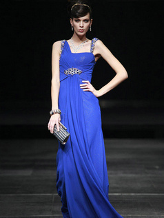 Perfect Sheath/Column Chiffon Asymmetrical Collar Floor-length Evening/Prom Dresses