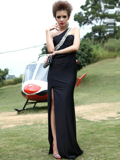 Perfect Sheath/Column Satin One shoulder Sequin Prom Dress