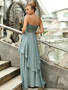 Precious Sheath/Column Chiffon Strapless Floor-length Evening/Prom Dresses