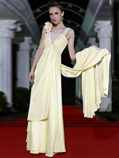 Precious Sheath/Column Elastic Silk-like Satin Watteau Train Flower Prom/Evening Dresses