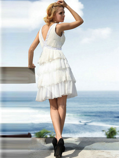 Pure Color Classic A-line Chiffon Short/Mini Tiered Prom/Graduation Dresses