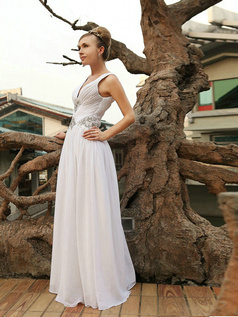 Pure Color Classic A-line V-neck Floor-length Draped Evening/Prom Dresses