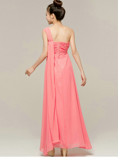 Pure Color Classic Sheath/Column Chiffon One shoulder Prom/Evening Dresses