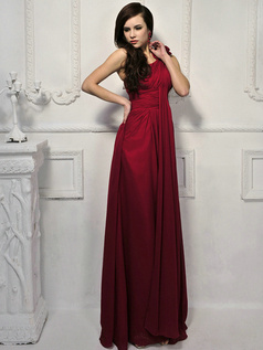 Pure Color Classic Sheath/Column One shoulder Flower Evening Dresses