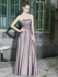 Retro A-line Tube Top Floor-length Beading Sequin Evening Dresses