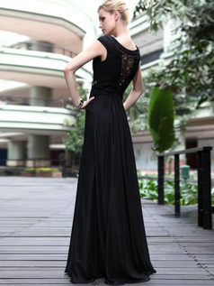 Sexy Sheath/Column Chiffon Bateau Floor-length Prom/Evening Dresses