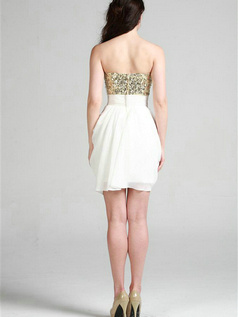 Shining Sheath/Column Chiffon Tube Top Sequin Cocktail/Graduation Dresses