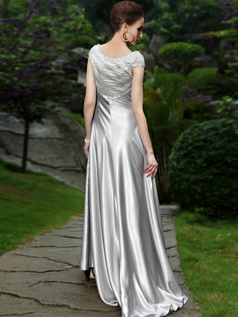 Shining Sheath/Column Stretch Satin Bateau Sweep Prom/Evening Dresses