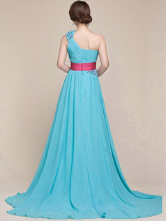 Surpassingly Beautiful A-line Chiffon One shoulder Sashes/Ribbons Evening Dress
