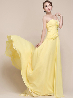 Tactile Sensation A-line Chiffon Strapless Beading Sequin Evening Dress