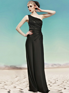 Tactile Sensation Sheath/Column One shoulder Floor-length Crystal Evening Dresses