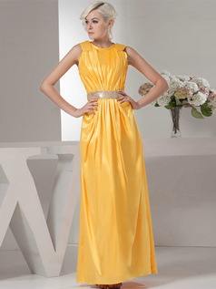 Column Round Brought Ankle-length Taffeta Sequin Evening Dresses