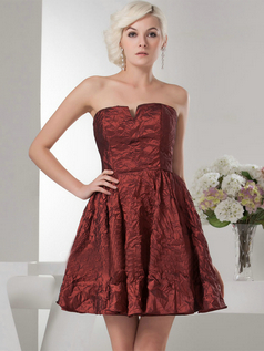 A-line Strapless Short Taffeta Draped Cocktail Dresses