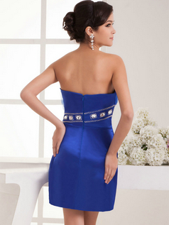 Column Strapless Short Satin Crystal Beading Cocktail Dresses