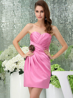 Column Sweetheart Strapless Short Satin Flower Side-draped Cocktail Dresses