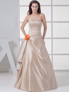 A-line Strapless Floor-length Satin Beading Sequin Prom Dresses