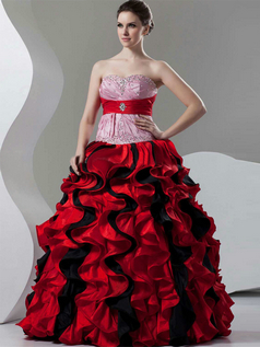 Princess Strapless Floor-length Taffeta Beading Ruffle Prom Dresses