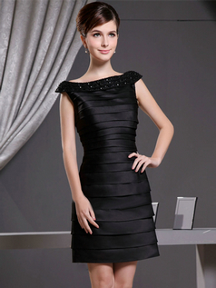 A-line Bateau Short Satin Cap Sleeves Crystal Cocktail Dresses