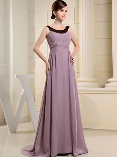 A-line Scoop Brush Train Stretch Satin Draped Evening Dresses