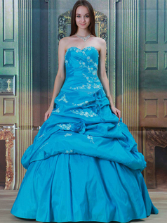 Princess Strapless Floor-length Taffeta Pick-Ups Prom Dresses