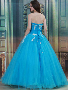 Ball Gown Strapless Floor-length Tulle Sequin Draped Prom Dresses