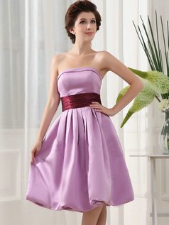 A-line Strapless Knee-length Satin Draped Cocktail Dresses