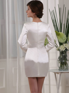 Column V-neck Short Satin Long Sleeve Crystal Cocktail Dresses