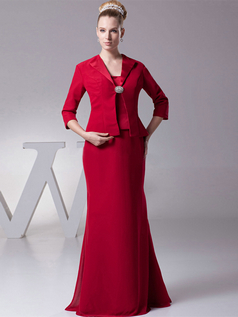 Mermaid Tube Top Floor-length Satin 3/4 Length Sleeve Crystal Evening Dresses With Jacket