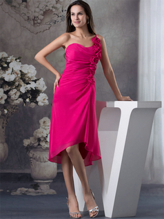 Column One Shoulder Tea-length Chiffon Flower Cocktail Dresses