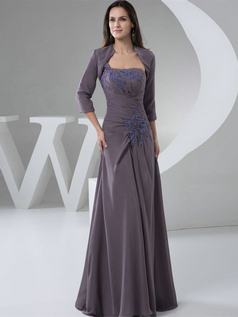 A-line Tube Top Floor-length Chiffon 3/4 Length Sleeve Beading Prom Dresses With Jacket