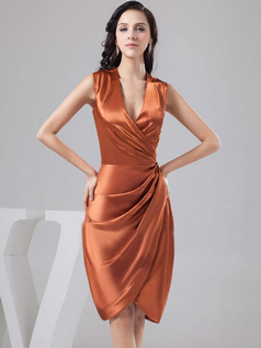 Sheath V-neck Knee-length Satin Side-draped Cocktail Dresses