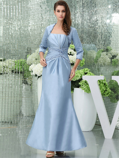 Mermaid Tube Top Ankle-length Satin 3/4 Length Sleeve Beading Prom Dresses With Jacket