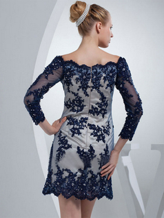 A-line Bateau Short Beading 3/4 Length Sleeve Lace Cocktail Dresses With Sequin
