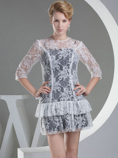 Sheath Round Brought Short 3/4 Length Sleeve Lace Cocktail Dresses