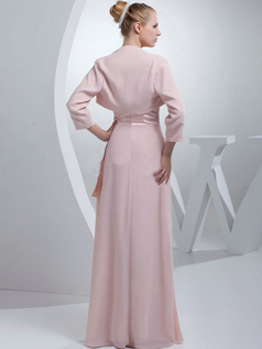 A-line Tube Top Floor-length Chiffon 3/4 Length Sleeve Beading Evening Dresses With Jacket