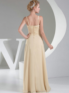 A-line Spaghetti Straps Floor-length Chiffon Split Front Evening Dresses With Draped