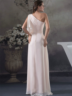 Column One Shoulder Floor-length Chiffon Lotus leaf Sleeve Evening Dresses With Split Front