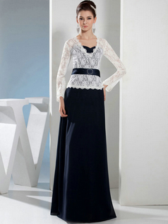 Column V-neck Floor-length Chiffon Long Sleeve Lace Evening Dresses